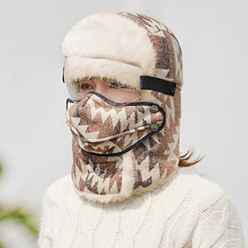 Gorra de algodón, gorra de invierno, hombres mujeres gorra de esquí al aire libre con orejeras y cubierta a prueba de viento, ciclismo de felpa gruesa y cálida para gorra transparente desmontable,G