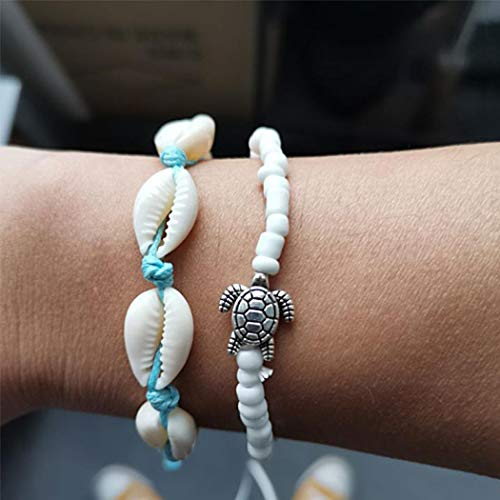 TseenYi Bracelet de cheville avec perles de coquillage de tortue pour femme et fille