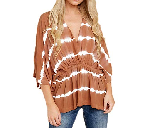 Frauen Tie-Dye T-Shirt V-Ausschnitt Bluse Elastic Waist Tunika Casual Stripe Tops...