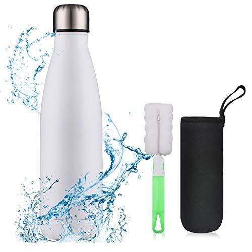flintronic Bouteille Isotherme, 500 ML Bouteille d'eau en Acier Inoxydable, Isolant sous Vide à Double Paroi, Bouteilles Chaudes/Froides sans BPA et écologique, avec 1 Porte-gobelet et 1 Brosse