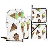 Juego de 4 Guantes y Porta ollas para Horno Resistentes al Calor Conjunto de Patrones sin Fisuras de Origami de Helado para Hornear en la Cocina,microondas,Barbacoa