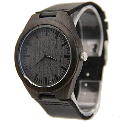 Mens Wooden Watch Black Leather Strap Analog...