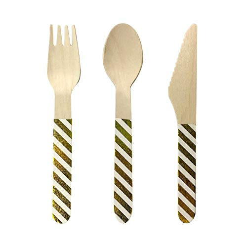 Ipalmay Disposable Wooden Cutlery Spoon Forks Set - Natural Eco-Friendly Biodegradable Compostable Utensils 24 Pieces Glitter Decorations
