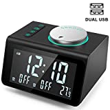 ANJANK Small Alarm Clock Radio - FM Radio,Dual USB Charging Ports,Temperature Display,Dual Alarms...