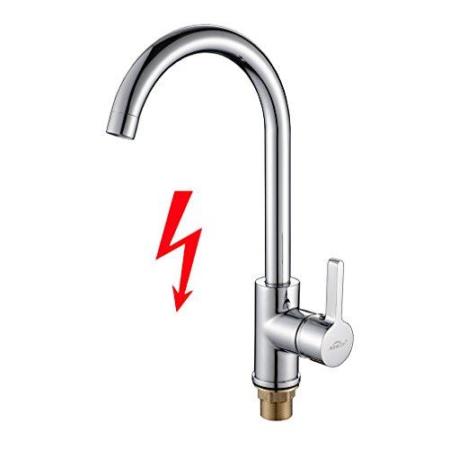 Auralum J Form Niederdruck Küchenarmatur, 360 Grad Drehbar Küche Wasserhahn mit Einhandmischer Mischbatterie für Spüle, Spültischarmatur Chrom, nicht Normaldruck