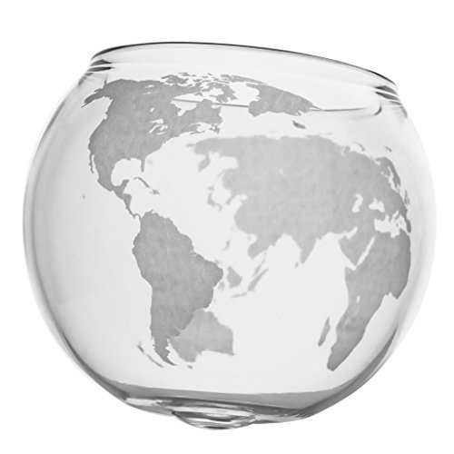 Etched Globe Whiskey Glasses -Rocks Glass for Rum, Tequila, Scotch,...