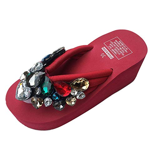 TRENDINAO Fashion Women Platform Flip Flops, Rhinestone Thong Slippers Jeweled Sandal Rubber Wedges Summer Beach Rain Shoes Red
