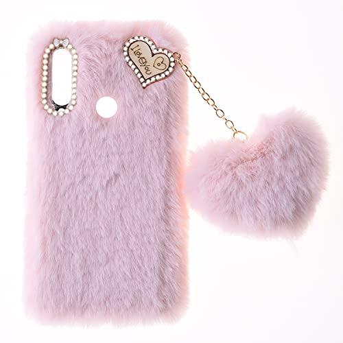 Custodia Peluche per Alcatel 1SE 2020 Carino Morbido Peloso Ciondolo Love Inverno Soffice Caldo Hairball Cover Protettiva Fluffy Cover Bambine Fatto a