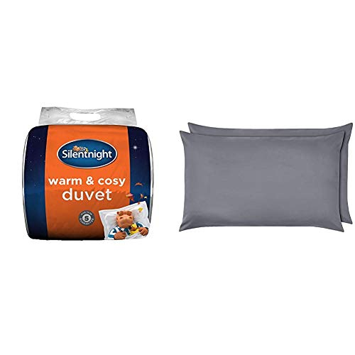 Silentnight Warm and Cosy Duvet, 15 Tog, Microfibre, White & AmazonBasics Microfibre Pillowcases, Dark Grey – Set of Two