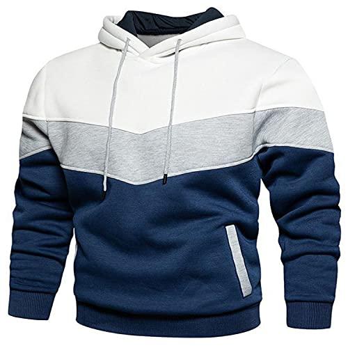 ZIOOER Herren Damen Hooded Hoodie Patchwork Pullover Farbblock Langarm Sport Sweatshirt Kapuzenpullover mit Tasche Weiß L