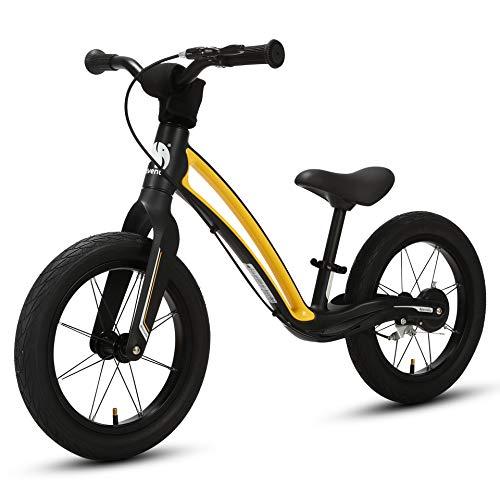 elvent® BalanceGo Kinder Sport Laufrad Lernlaufrad 14 Zoll für Asphalt Gelände, für Mädchen Jungen ab 3 Jahren, Luftreifen, Bremse, Qualität Magnesiumrahmen, Sattel höhenverstellbar (Schwarz)
