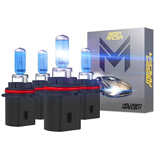Mega Racer 4 Bulbs HB5 9007 Headlight Bulb High Performance OEM Halogen Headlights 2 x High Beam & 2 x Low Beam 12V 55W Super White 5000K 9007 Bulb Xenon Bulbs Headlight Bulbs 9007
