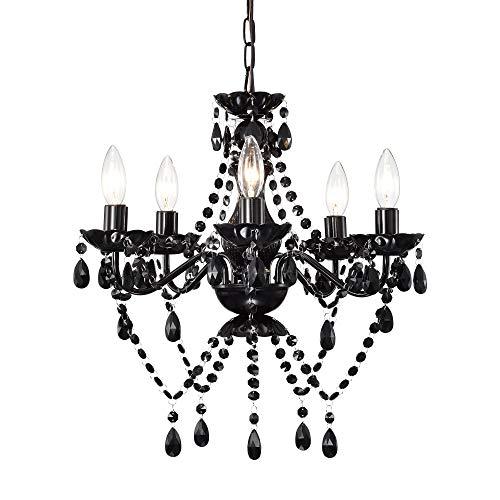 Black Modern Chandelier Gothic Crystal Chandelier Lighting 5 Light Dining Room Chandelier