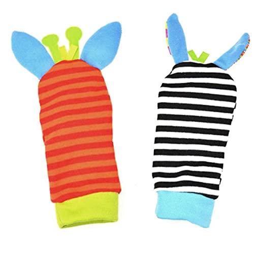 MaylFre Pie del bebé Calcetines Juguetes buscador del pie Calcetines Calcetines encantadores educativos los traqueteos Rojo y Azul 1 par de simulación de Juguetes de Peluche