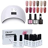 Elite99 Lámpara UV LED para Uñas 24w, 12 Colores Kit de Esmaltes Semipermanentes en Gel UV LED con Base y Top Coat Semipermanentes, Esmaltes de Uñas Soak off 10ml 005