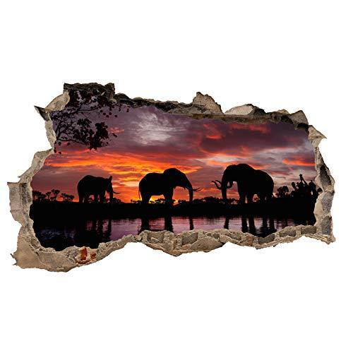 3D Wandtattoo Mauerloch Wandsticker Wandaufkleber Durchbruch Tiere selbstklebend H 60 x B 100 Schlafzimmer Wohnzimmer (WL44 Elefanten)