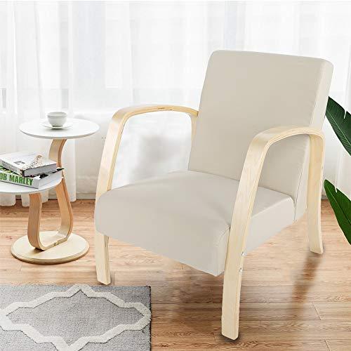 Cocoarm gestoffeerde fauteuil, hout enkele fauteuil woonkamer lounge stoel bank bank receptie stoel vrije tijd stoel voor slaapkamer lounge kantoor 60 x 67 x 78cm