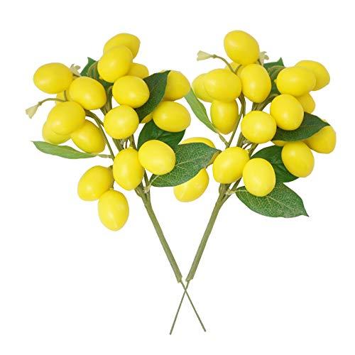 LESHABAYER Artificial Lemon Bunch Branch Garland Vine Wreath Lifelike Fake Fruit Props Home House Garden Wedding Party Decoration Photography Props (2pcs Lemon Bunch)