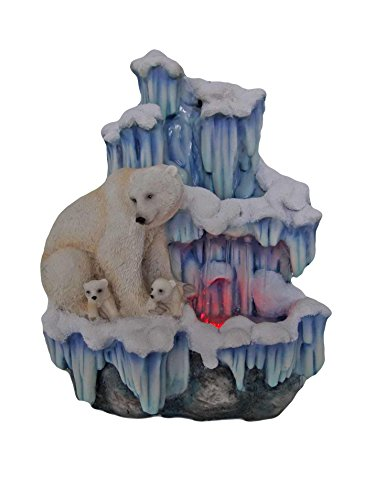 SINTECHNO SNF12076-3 Aristic Sculptural Mother Polar Bear with Her Cubs on Iceberg Tabletop Water Fountain