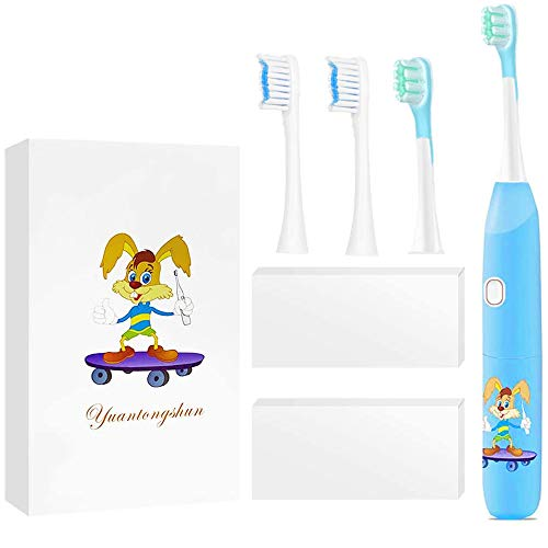 Rechargeable Kids Toothbrush Electric 2-Stage Sonic Kids Toothbrush with Timer 、2 Size Replacement Heads、3 Modes with Memory 、IPX7 Waterproof Electric Toothbrush for Kids (Blue)