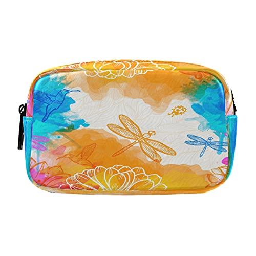 Hunihuni - Estuche de lápices colorido, diseño de libélula animal, gran capacidad, bolsa de maquillaje, bolsa de cosméticos con compartimentos dobles con cremalleras