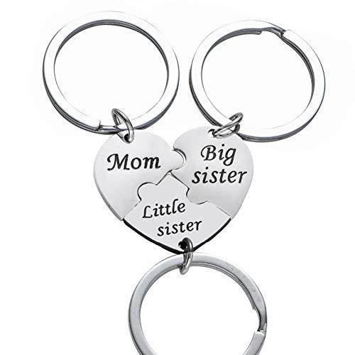 3 Pc Moeder Grote Kleine Zuster Hart zal samen worden gecontacteerd Bijpassende Sleutelhanger Puzzel Sleutelhanger roestvrij staal Sleutelhanger Ring Moeder