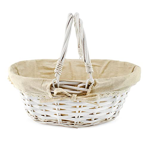 Cornucopia Wicker Basket with Handles (White-Painted), for Easter, Picnics, Gifts, Home Decor and More, 13 x 10 x 6 Inches
