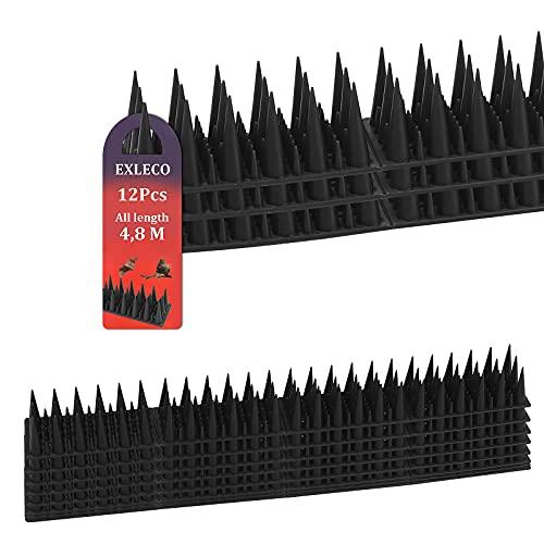 EXLECO Ahuyentador de pájaros de plástico, 4,8 metros, 12 unidades, 3 filas, pinchos para gatos, gorriones, martas, vallas, alféizares de ventana, techo   negro