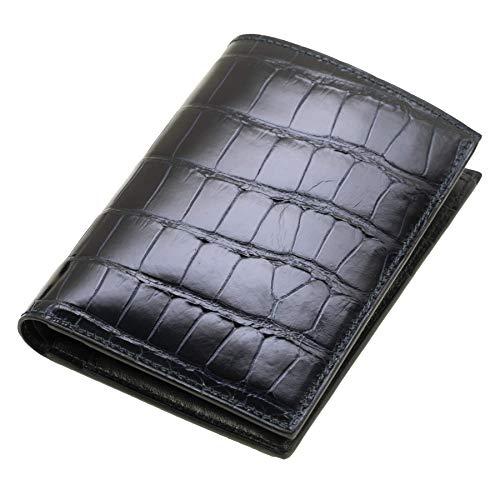 Chiccheria Brand Portemonnaie   Echtes Krokodilleder   Brieftasche   Herren   Glänzend   Dunkelblau   Made in Italy   Bekannt aus GQ