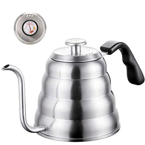 Wasserkocher mit Thermometer für genaue Temperatur, Schwanenhals, hochwertiger Edelstahl-Wasserkocher für die Zubereitung von Tee und Kaffee (1,2 Liter)