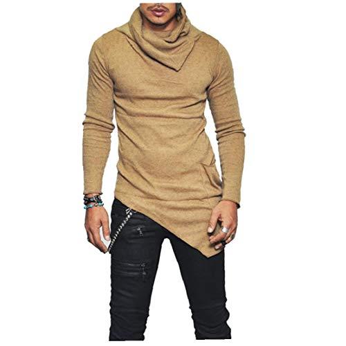 Mannen Onbalans Hem Pocket Lange Mouw Sweatshirt voor Mannen Kleding Herfst Coltrui Sweatshirt Top Hoodie Khaki 3XL