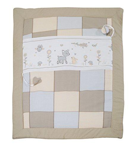 Manta de juegos roba, diseño 'Animals friends', alfombra de juego acolchada para bebé/apropiada para parques de 100x100cm, 100% algodón, incluye elementos de juegos para bebés