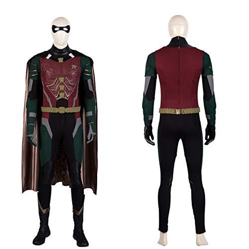 QWEASZER Costume da Batman Robin per Adulti Deluxe PS4 Supereroe Anime Zentai Costumi Uomo Film Cosplay Fancy Dress Tuta Tutine,Robin-S
