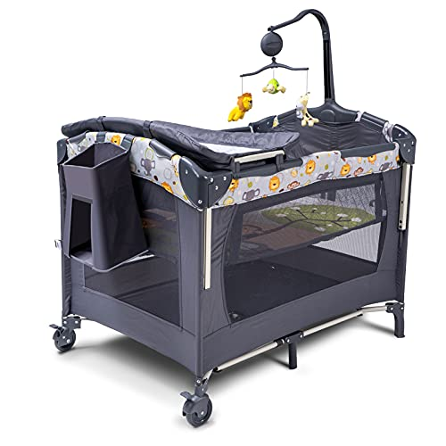 SKIH 5 in 1 Baby Bedside Sleeper, Baby Bassinet, Bedside Cribs with Toys & Music Box, Mattress, Foldable Baby Playard, Portable Travel Crib for Girl Boy Infant Newborn (Grey)