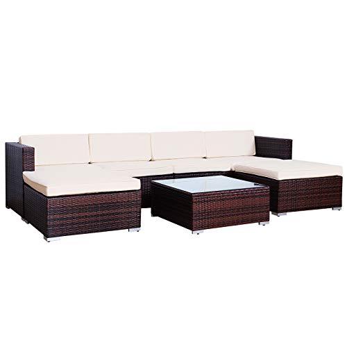 Ratán Lounge Jardín Set Marrón Sofá Muebles de Jardín (Polirratán