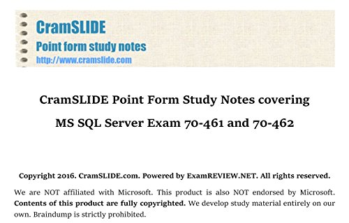 CramSLIDE Point Form Study Notes covering MS SQL Server Exam 70-461 and 70-462...