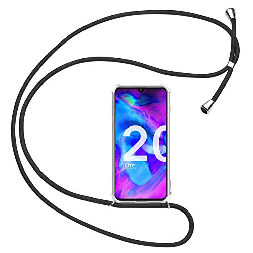 Olliwon Handykette Kompatibel mit Huawei Honor 20 Lite, TPU Hülle mit Band für Huawei Honor 20 Lite 6,21 Zoll Silikon Bumper Hülle - Schwarz