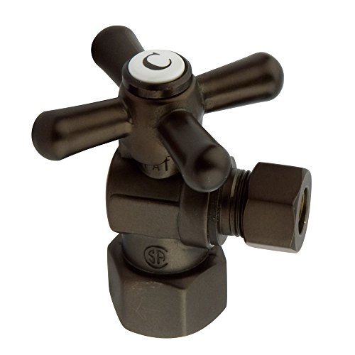 Kingston Brass CC43105X Vintage 1/2-Inch Fip x 3/8-Inch OD 1/4 Angle Stop, Oil Rubbed Bronze by Kingston Brass