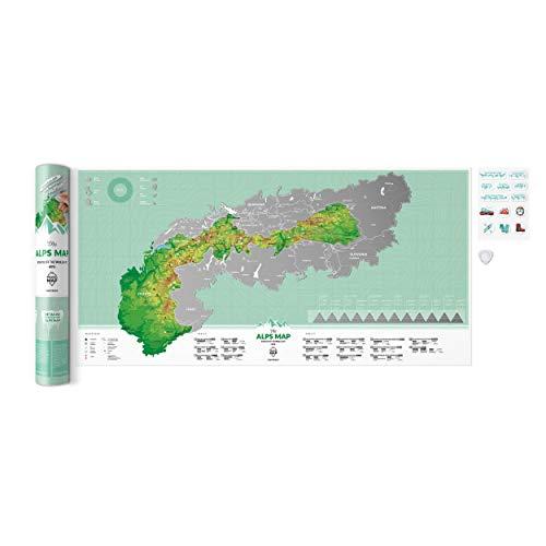 Karte der Alpen zum Rubbeln Rubbelkarte Scrape Off Poster für Kletter- und Skienthusiasten Alpen Gipfel Alpine Klettersteige Alpine Skigebiete zum Rubbeln Scratch It Geschenk mit Geschenkverpackung