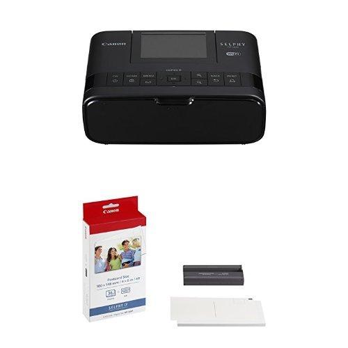 Canon Selphy CP1300 - Impresora fotográfica inalámbrica (Apple AirPrint, Mopria, pantalla abatible de 8.1 cm, tintas de 3 colores, 300 x 300 ppp) negra + Canon KP-36IP