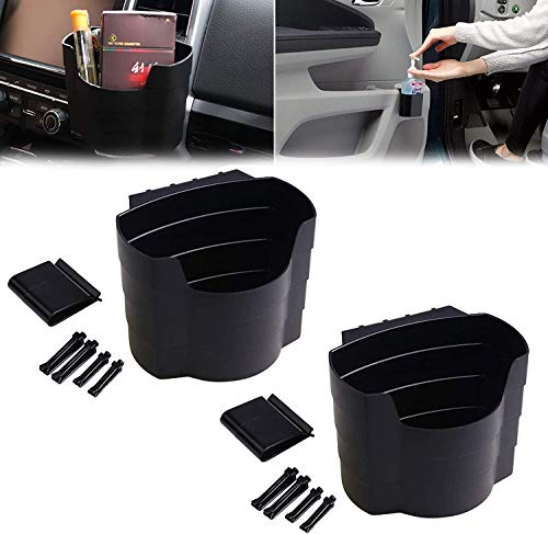 2 Pcs Car Door Pocket Hand Sanitizer Holder, ABS Front Door Side Insert Storage Pockets Box, Car Air Vent Storage Bag Organizer for Smaller Gaps and Rear Seat Storage Nets