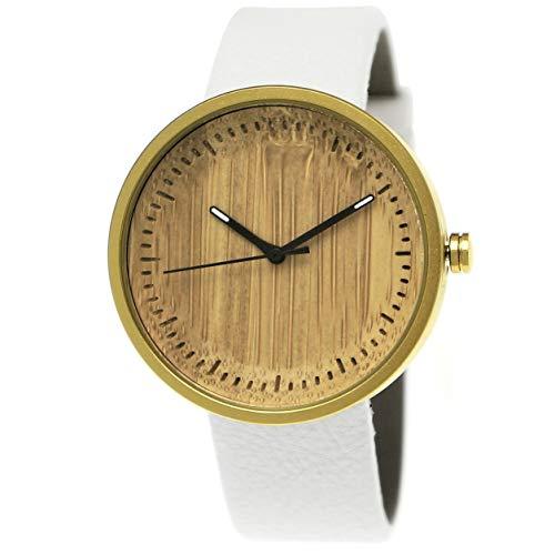 Elegante Pure Time® designer herenhorloge dameshorloge eco natuurlijk houten horloge armband analoog klassiek kwartshorloge wit goud lederen armband houten wijzerplaat