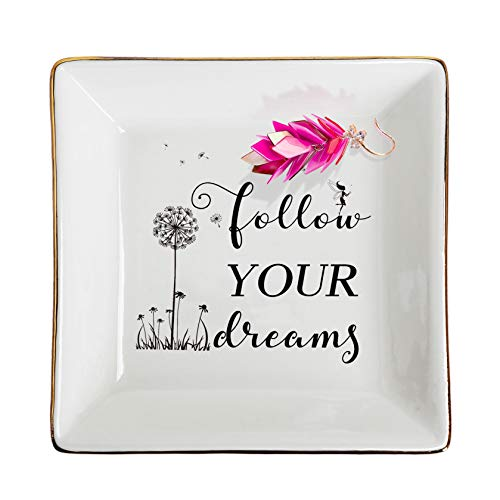 Ceramic Ring Dish Decorative Trinket Plate, Inspirational Gifts for Women Personalized Jewelry Tray Birthday Gifes
