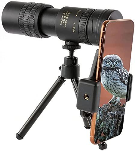 XUELIAN Catalejo monocular con Zoom óptico 4K 10-300x40 mm HD, telescopio monocular para Adultos, Alcance monocular Impermeable con Adaptador para teléfono Inteligente