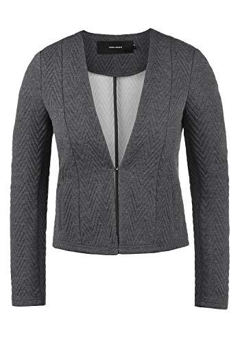 VERO MODA Bridget Damen Blazer Kurzblazer Jacke Mit V-Ausschnitt, Größe:XS, Farbe:Medium Grey Melange