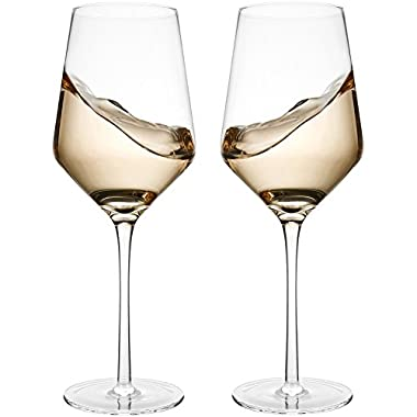 Hand Blown Crystal Wine Glasses - Bella Vino Standard Red/White Wine Glass Made from 100% Lead Free Premium Crystal Glass, 15.5 Oz, 9.1 , Perfect for Any Occasion, Great Gift, Set of 2, Clear