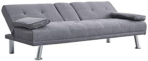 3er-Sofa-Bett Stoff Sofa Sofa bench Bettwäsche Linie mit Becherhalter und zwei freie Wohnzimmer Kissen,Grey