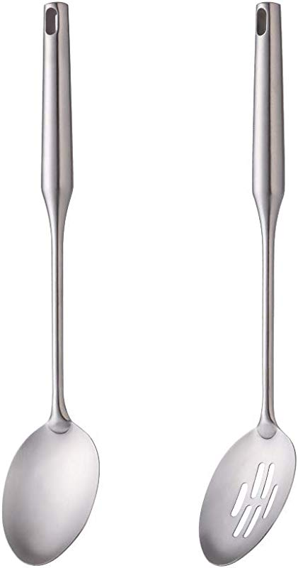 BUY USE 2 Pcs Stainless Steel Cooking Utensil 1 Solid Spoon 1 Slotted Spoon 12 Inch Long Handle Serving Spoon Slotted Spoon Integral Forming Durable