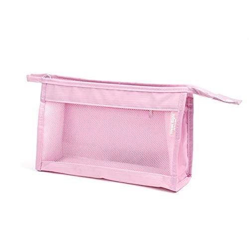 Étanche Trousse De Maquillage Portable Mesh Transparent Cosmétique Sacs De Rangement Paquet Organisateur De Voyage Nécessaire Etui Trousse De Toilette Wash Bag, Rose