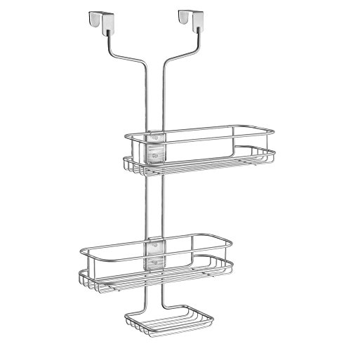 Price comparison product image iDesign Linea Adjustable Over-Door Shower Caddy,  Hanging Bathroom Shelves,  Made of Metal,  Silver
